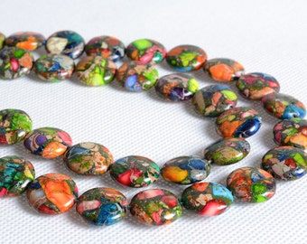 "1049 16mm Multi-color sea sediment jasper pyrite flat coin disc loose gemstone beads 16"""
