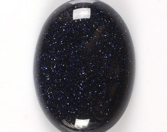 2 pcs of  30mm Sparkly Blue Goldstone oval flatback cab cabochon g2884x2