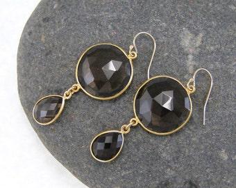 Smoky Quartz Double Drop Earrings - Bezel Earrings - Gemstone Earrings
