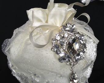 Lace Wedding Bag, White or Ivory Lace Bridal Purse, Bridal Money Bag,  Clear Crystal Rhinestones
