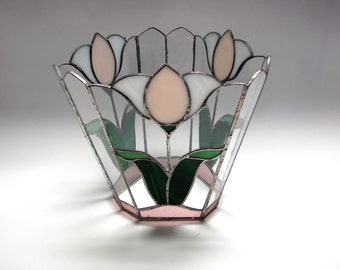Stained glass tulip vase