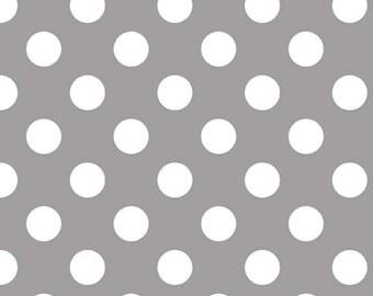 2 Yards Riley Blake Gray Medium Dots Polka Dots