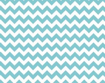 3 Yards Riley Blake Small Chevron Aqua Cotton Fabric