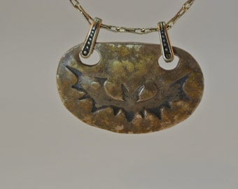 Handcrafted Halloween Bat Bronze Pendant