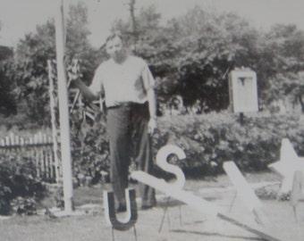 Patriotic 1940's WW II Era Victory Garden Snapshot Photo - Free Shipping