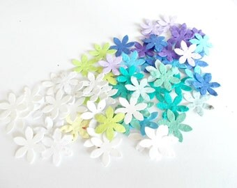 Seeded Paper Flower Confetti - Plantable Paper Embedded With Flower Seeds - Blue, Green, Purple  and White Mix