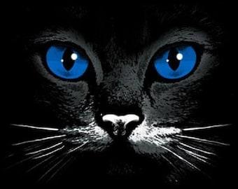 Blue Eye Black  Cat T SHIRT, Sweatshirt, Quilt Fabric Block  Item no. 275e