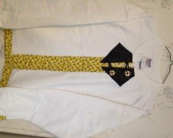 Sweatshirt Cardigan White Black & Gold Polka Dots Size Medium
