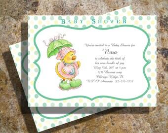 Babyshower Invitations, Baby boy or girl polka dots momma duckie invitations
