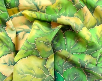 Silk scarf.hand painted scarves Batik shawl ''Flora'' hand-painted on silk. Handmade Scarves.Green, sunshine, gentle. Made to order