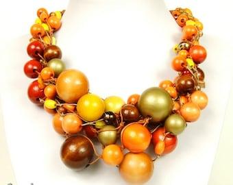 Linen Necklace  Wooden Beads Numbi, linen, natural necklace, natural linen eko