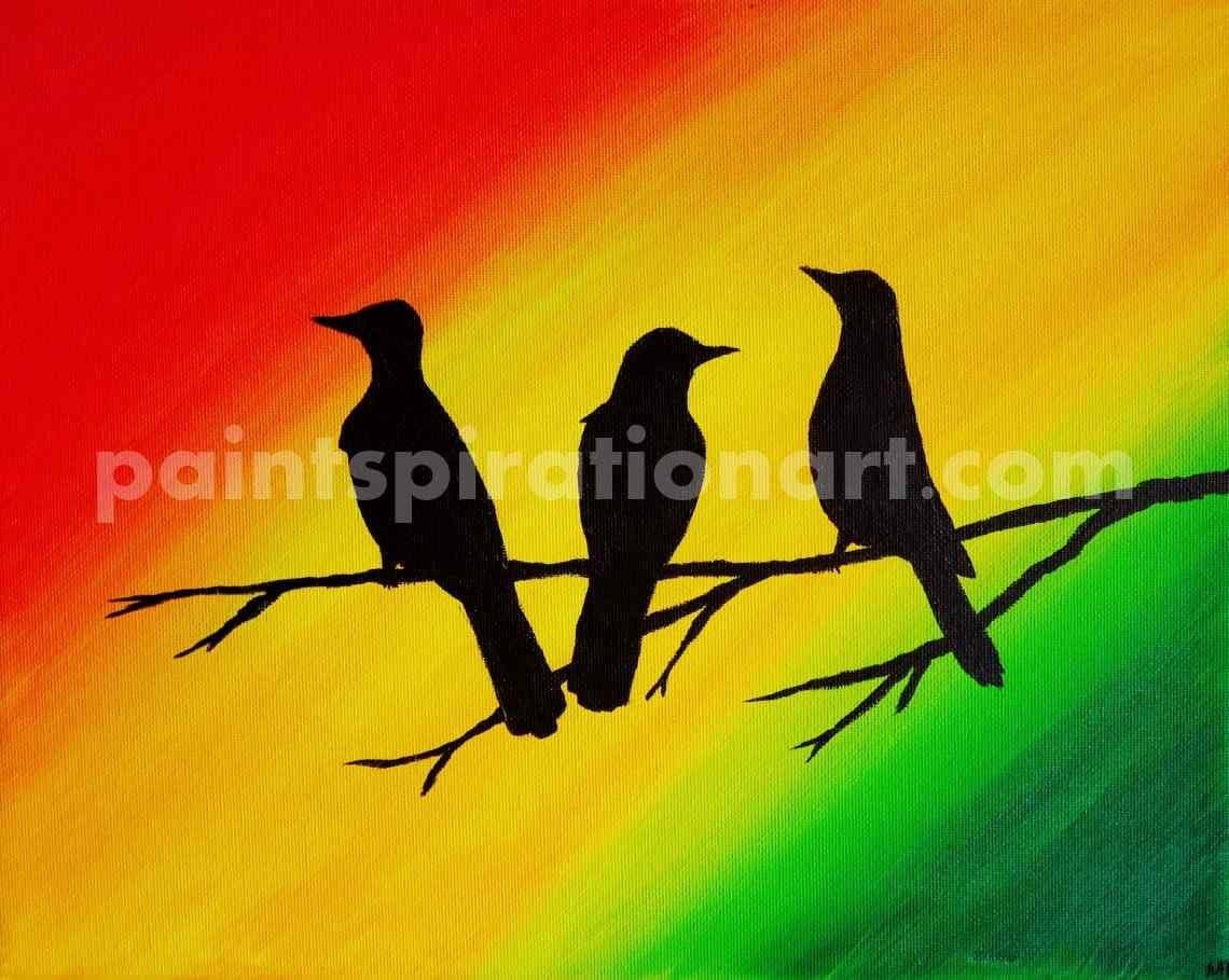 Three Little Birds Drawing Art Three Little Birds