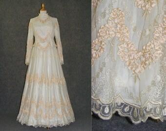 Vintage wedding dress Size L, 1950 wedding gown, ball dress, Theatre Dress