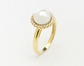 Dainty pearl ring, Diamond ring,  Genuine pearl ring, 14k rose gold ring Gold pearl ring  White gold 14k ring Special day ring