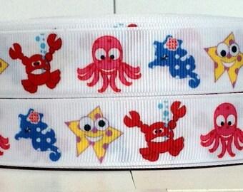 """7/8"""" Sea Creatures Grosgrain Ribbon"""