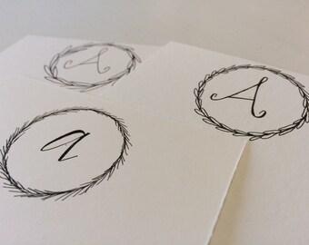 Hand-lettered monogram stationery