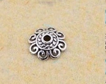 Silver Bead Caps -100pcs Antique Silver Mini Bead Cap Charms Findings 12.5mm