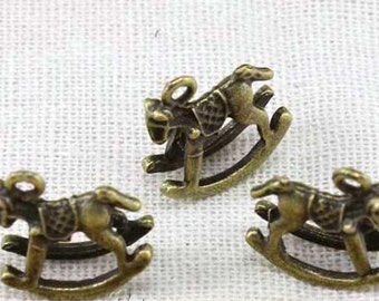 20 pcs of antique bronze horse Charm Pendants 15mm