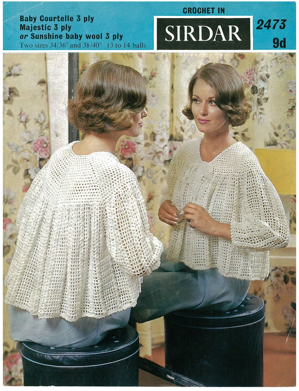 Free Knitting Glove Patterns : Retro ladies crochet bed jacket vintage by AplaceofInterest
