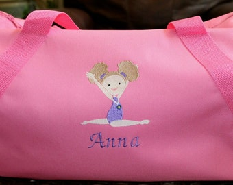 Girl's  Embroidered Gymnastic Duffel Bag - Personalized