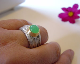Wave Ring Band ,Sterling,Gold,Green Stone , chrysopras, Wave,wedding ring, engagement ring