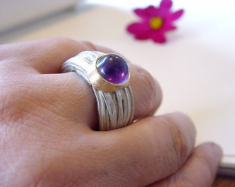 Sterling,Gold,ring  with  Amethyst ,wedding band, engagement ring