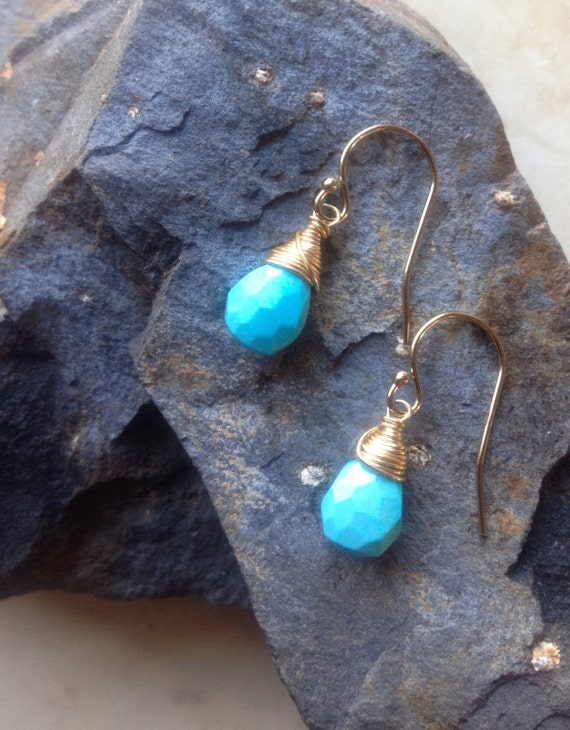 Sleeping Beauty Turquoise Briolette Earrings Genuine Arizona Turquoise  Simple Earrings  December Birthstone