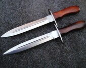 "2  Custom made Carbon Steel 12.8"" Sword W/Brass bolster, Olive  wood & Fine leather Sheath"