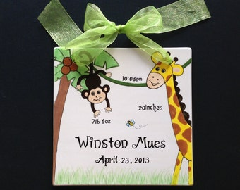 Personalized Birth announcement Tile or Special Occasion Plaque