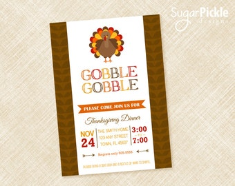 Thanksgiving Invitation, Thanksgiving Invites, Dinner Party Invitation, Friendsgiving Invitation