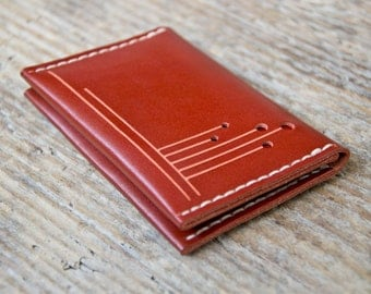 Orange leather personalized wallet cash card holder, hand stitched, for men and women