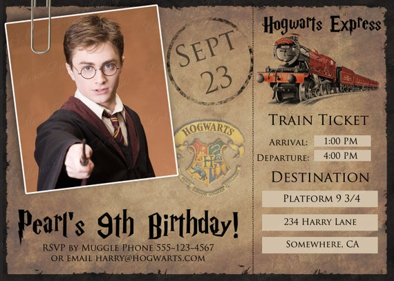 Top Poudlard Harry Potter imprimable carte postale Invitation GL01