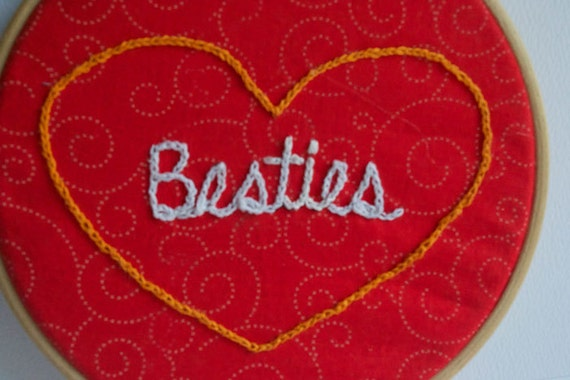 Besties - hand-embroidered wall decor for best friends