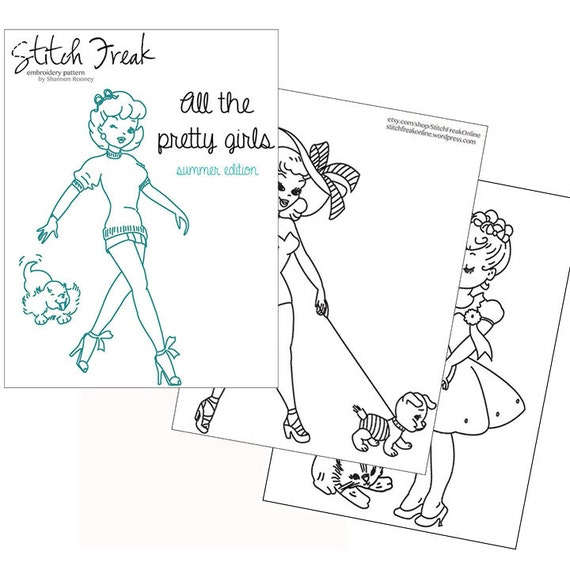 All the Pretty Girls - embroidery PATTERN - vintage ladies