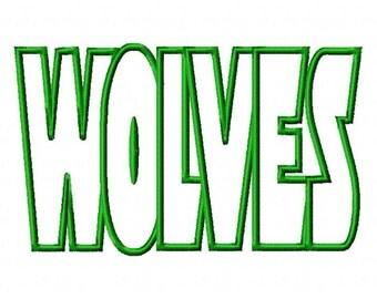 Wolves Text Applique Designs N050