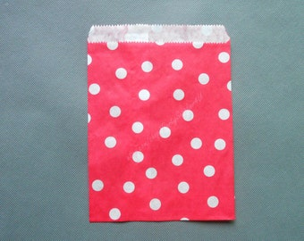 Favor Bags 50 Red Paper Favor Bag With White Polka Dots Candy Bar Bags Red Party Favor Bags baby shower Gift Pouches