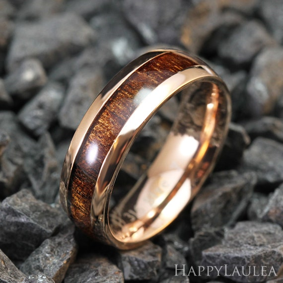 Stainless Steel Ring With Koa Wood Inlay 6mm Width By
