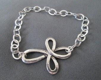 Silver Infinity Cross Bracelet