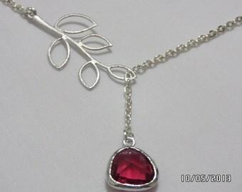Stone on branch necklace,Fuchsia glass stone necklace , wedding fuchsia glass stone Silver necklace,weddings jewelry,bridesmaid gift