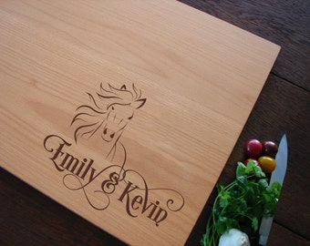 Personalized Equestrian Cutting Board Kitchen Decor for Horse Lovers Anniversary Gift Bridal Shower or Wedding Present