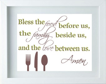 3D Kitchen Decor Art Bless The Food Sign Family Love Quote Green Taupe Wall