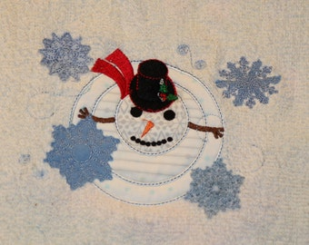 Snowman in a Snow Storm Applique and Fill Machine Embroidery Design