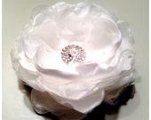 White Bridal Hair Flower, Hair Clip with Netting, White Wedding Fascinator