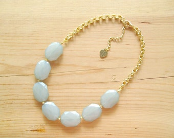 Mint statement necklace, Mint single strand statement necklace