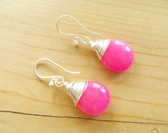 Hot Pink Gemstone Teardrop earrings with sterling silver wire wrapped