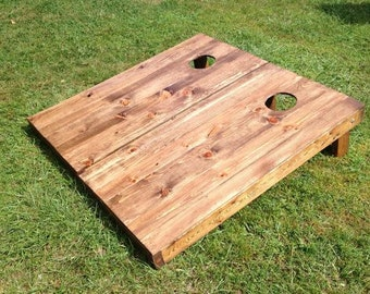 Rosewood Stained Wood Slat Cornhole Boards