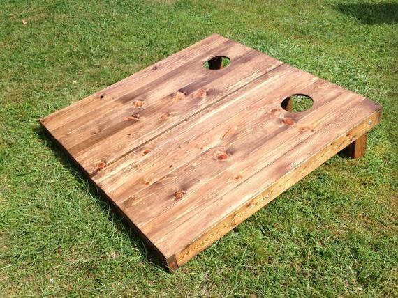 Rosewood Stained Wood Slat Cornhole Boards