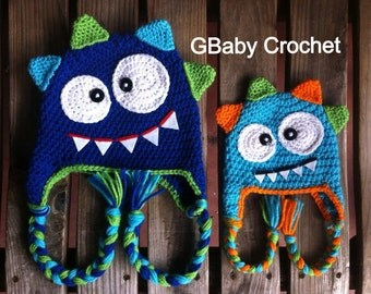 Crochet monster hat blue 0-5T