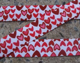 """3 yards Happy Valentine's Day ribbon Pink, Red Hearts Printed Ribbon Valentine grosgrain ribbon 7/8"""" Valentine Ribbon Hair Bow Ribbon"""