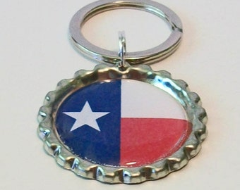 Unique State Love Texas State Flag All 50 States Available Metal Flattened Bottlecap Keychain